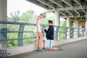 Photo - Parker Douglass, formerly of Oklahoma City, right, surprised his girlfriend Amy of Mueller with a wedding proposal during a jog in Austin, Texas. PHOTO BY HEIDI RAE HUSERMAN PROVIDED. <strong></strong>