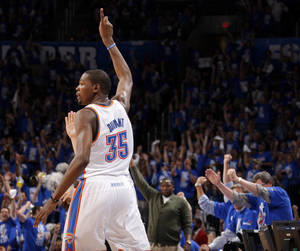 photo - NBA BASKETBALL / LOS ANGELES LAKERS / CELEBRATION: Oklahoma City's Kevin Durant (35) celebrates after a basket during Game 1 in the second round of the NBA playoffs between the Oklahoma City Thunder and L.A. Lakers at Chesapeake Energy Arena in Oklahoma City, Monday, May 14, 2012. Photo by Bryan Terry, The Oklahoman