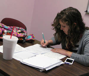 photo - Sophomore Kayla Cernosek studies in the Mabee Learning Center at   Oklahoma Baptist University in Shawnee on Friday. Photo by Vallery Brown, The Oklahoman <strong>Vallery Brown - THE OKLAHOMAN</strong>