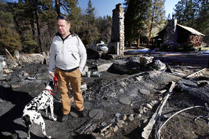 Photo - Rick Heltebrake with his dog Suni looks over the burned-out cabin where Christopher Dorner's remains were found after a police standoff Tuesday near Big Bear, Calif., Friday Feb. 15, 2013.   Heltebrake had been carjacked by Dorner. (AP Photo/Nick Ut)