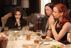 "Photo - This image released by The Weinstein Company  shows, from left, Meryl Streep, Julianne Nicholson and Juliette Lewis in a scene from ""August: Osage County."" Steve McQueen's historic saga ""12 Years a Slave,"" Jon Wells' dysfunctional family adaptation ""August: Osage County, Jean-Marc Vallee's early AIDS epidemic drama ""Dallas Buyers Club"" the White House servant tale ""Lee Daniel's The Butler"" top the list of outstanding performances for the 20th annual Screen Actors Guild Awards with three nominations each. (AP Photo/The Weinstein Company, Claire Folger)"