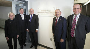 Photo - From left, Oklahoma Medical Research Foundation board member Christy Everest; OMRF President Dr. Stephen Prescott; past OMRF President Gene Rainbolt; Chickasaw Nation Gov. Bill Anoatubby and OMRF researcher David Jones attend the dedication of the Chickasaw Nation Laboratory for Cancer Research on Thursday in Oklahoma City. Photo provided  <strong> -   </strong>