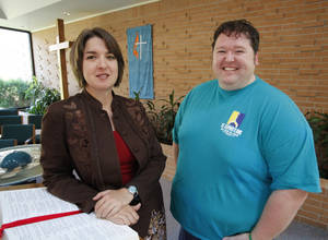 photo - The Rev. Amy Venable, senior pastor of St. Stephen's United Methodist Church, and church member Jason Martin stand in the Norman church's sanctuary at 1801 W Brooks. Photo by Steve Sisney, The Oklahoman