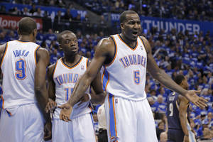 Photo - NBA BASKETBALL: NBA BASKETBALL: Oklahoma City's Kendrick Perkins (5) questions a call by the officials during the second round NBA playoff basketball game between the Oklahoma City Thunder and the Memphis Grizzlies at Chesapeake Energy Arena in Oklahoma City, Sunday, May 5, 2013. Photo by Chris Landsberger, The Oklahoman