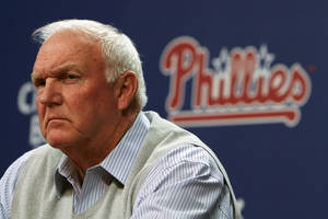 Photo -   Philadelphia Phillies manger Charlie Manuel pauses during a baseball news conference on Thursday Oct. 4, 2012, in Philadelphia. (AP Photo/ Joseph Kaczmarek)