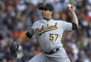 photo -   Oakland Athletics starting pitcher Tommy Milone throws against the Detroit Tigers in the second inning of a baseball game in Detroit, Thursday, Sept. 20, 2012. (AP Photo/Paul Sancya)
