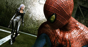 "Photo -   In this video game image released by Activision Inc., Spider-Man and Felicia Hardy are shown in a scene is shown from ""The Amazing Spider-Man."" (AP Photo/Activision Inc.)"