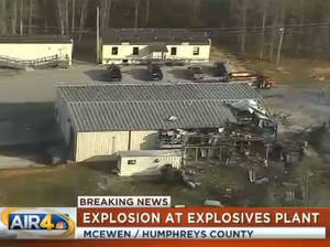 Photo - This frame grab from video provided by WSMV-TV in Nashville, Tenn., shows some of the area of an explosion and fire, Wednesday, April 16, 2014, at a property where several ammunition and explosives plants are based, in McEwen, Tenn. At least one person has died, and at least three people have been injured. (AP Photo/WSMV-TV)