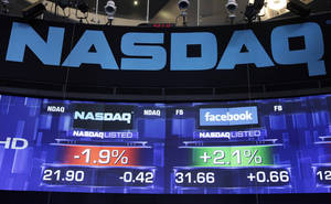 Photo -   Pre-market prices for Nasdaq stock, left, and Facebook stock are shown, Wednesday, May 23, 2012 at the Nasdaq MarketSite in New York. Facebook stock rose in early trading Wednesday, although still far below the $38 it was priced at before its initial public offering Friday. (AP Photo/Mark Lennihan)