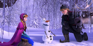 "Photo - This image released by Disney shows, from left, Anna, voiced by Kristen Bell, Olaf, voiced by Josh Gad, and Kristoff, voiced by Jonathan Groff in a scene from the animated feature ""Frozen."" (AP Photo/Disney"
