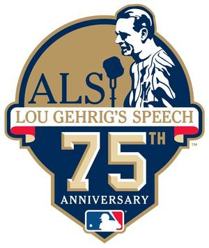 """Photo - This image release by Major League Baseball on Thursday, June 19, 2014, shows a patch that baseball clubs will wear as a special tribute to Hall of Famer Lou Gehrig on the 75th Anniversary of his iconic """"Luckiest Man"""" speech. The league will conduct special on-field ceremonies to commemorate the anniversary of the speech and honor the legacy of Gehrig on July 4, 2014, who passed away on June 2, 1941 at the age of 37.  (AP Photo/MLB)"""