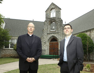Photo - In this 2010 photo, the Rev. Richard Stansberry and the Rev. Tim Blodgett stand in front of Greystone Presbyterian Church in Nichols Hills. The former Greystone building was recently torn down to make way for expansion of neighboring Catholic school.  <strong>PAUL HELLSTERN</strong>