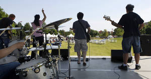Photo - The Jumpshots band provides live music at the Made in Oklahoma Festival held inside and on the grounds of the Reed Conference Center at the Sheraton Midwest City Hotel Saturday afternoon, May, 19, 2012. Photo by Jim Beckel, The Oklahoman