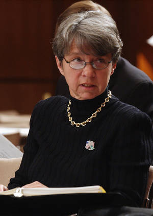 photo - FILE - In this Oct. 8, 2002 file photo, Mary Jo White, former U.S. Attorney for the Southern District of New York, appears on Capitol Hill in Washington. A White House official says President Barack Obama on Thursday will nominate White as chair of the Securities and Exchange Commission (SEC).  (AP Photo/Dennis Cook, File)
