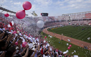 Photo -   River Plate fans cheer as their team enter the field before an Argentine soccer league match against Boca Juniors in Buenos Aires, Argentina, Sunday, Oct. 28, 2012. (AP Photo/Victor R. Caivano)