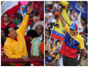 photo -   FILE - In this combo of two file photos shows Venezuela's President Hugo Chavez, left, waving to supporters during a election campaign rally in Guarenas, Venezuela on Sept. 29, 2012, and opposition presidential candidate Henrique Capriles, right, waving to supporters during a rally in Caracas, Venezuela on Sept. 30, 2012. Venezuelans will go to the polls on Oct. 7 for the country's presidential election. (AP Photo/Ariana Cubillos, Rodrigo Abd)