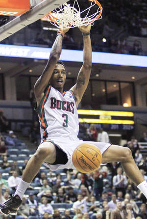 photo - Bucks guard Brandon Jennings went from high school to Italy to the NBA.  AP photo