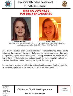 photo - This flier from the Oklahoma City Police Department describes two missing half-sisters, Lindsay Saunders, 17, and Dayle Ackley, 12. Police said anyone with information about the girls should call 911. <strong>PDDM0954PC</strong>
