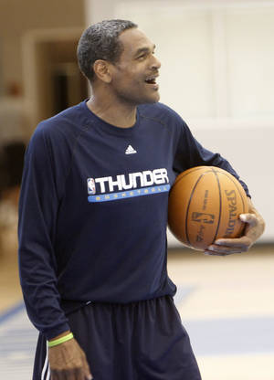 Photo - OKLAHOMA CITY THUNDER / MIAMI HEAT/ NBA FINALS / NBA BASKETBALL: Assistant coach Maurice Cheeks laughs at a comment by a player after the Thunder practice Sunday, June 10, 2012. Photo by Doug Hoke, The Oklahoman
