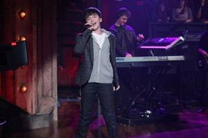 "Photo - Edmond's Greyson Chance performs  on NBC's ""Late Night With Jimmy Fallon"" in February. PHOTO BY LLOYD BISHOP/NBC <strong>Lloyd Bishop</strong>"