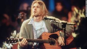 Photo - Kurt Cobain of Nirvana during the taping of MTV Unplugged at Sony Studios in New York City, 11/18/93. Photo by Frank Micelotta.  *** Special Rates Apply *** Call for Rates ***