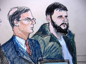 Photo -   FILE - In this Jan. 9, 2010 courtroom file sketch, defendant Adis Medunjanin, right, accused of becoming an al-Qaida operative, sits with his defense attorney Robert Gottlieb at the federal courthouse in New York. A federal prosecutor said Monday, April 16, 2012, that Medunjanin discussed bombing New York City movie theaters, Grand Central Terminal, Times Square and the New York Stock Exchange before settling on the city's subways. (AP Photo/Elizabeth Williams, File)