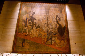 Photo - In this Feb. 28, 2014, photo provided by the New York Landmarks Conservancy, a stage curtain painted by Pablo Picasso hangs on a wall at the Four Seasons restaurant in New York. Plans to move the 1919 canvas from the Four Seasons has touched off a dispute between a prominent preservation group against an art-loving real estate magnate. (AP Photo/New York Landmarks Conservancy, Rick Bruner)