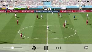Photo - This screen shot taken from Univision Deportes' mobile app shows action during the group G World Cup soccer match between Germany and Portugal at the Arena Fonte Nova in Salvador, Brazil, Monday, June 16, 2014. (AP Photo/Univision Deportes)