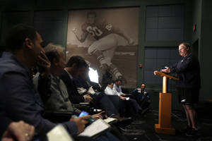photo - Philadelphia Eagles head coach Andy Reid speaks during a news conference at the team's NFL football practice complex, Monday, Nov. 19, 2012, in Philadelphia. The Eagles are 3-7 and have lost six straight, accelerating the countdown toward the possible end of Andy Reid's 14-year tenure as coach. (AP Photo/Matt Slocum) ORG XMIT: PAMS104