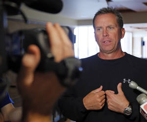 photo - COLLEGE FOOTBALL: OSU offensive coordinator Todd Monken talks with the media during Oklahoma State University football media availability at Boone Pickens Stadium in Stillwater, Okla., Thursday, Aug. 23, 2012. Photo by Nate Billings, The Oklahoman