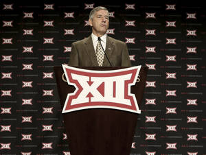 Photo -                    Big 12 commissioner Bob Bowlsby thinks some men's Olympic sports could end on the collegiate level due to upcoming funding changes.                     AP photo