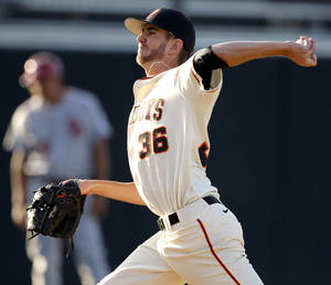 photo - Oklahoma State's Kyle Ottoson pitches during the college Bedlam baseball game between Oklahoma State University (OSU) and the University of Oklahoma (OU) at Allie P. Reynolds Stadium in Stillwater, Okla., Tuesday, April 24, 2012. Photo by Bryan Terry, The Oklahoman