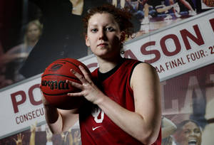 Photo - Joanna McFarland poses for a photograph after practice as the University of Oklahoma Sooners (OU) women's college basketball prepares for the NCAA tournament at The Lloyd Noble Center on Wednesday, March 27, 2013  in Norman, Okla. Photo by Steve Sisney, The Oklahoman