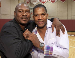 Photo - Former University of Oklahoma (OU) college basketball guards Mookie Blaylock, left, and Ricky Grace appear at a banquet at Lloyd Noble Center on Friday, Aug. 24, 2012, in Norman, Okla.  Photo by Steve Sisney, The Oklahoman