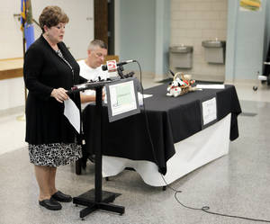 Photo - Susan Pierce, superintendent of Moore Public Schools, and Robert Romines, the incoming superintendent, held a news conference Monday to dispel a rumor about a teacher being fired for praying with her students during the May 20 tornado. Photo by KT King, The Oklahoman <strong>KT King - The Oklahoman</strong>