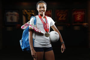 Photo - High school scholar-athlete of the year, Shawnee's Jasmine Robinson poses for a photo at the Oklahoma Sports Hall of Fame on Thursday, June 6, 2013. Photo by Bryan Terry, The Oklahoman