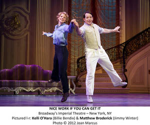 "Photo - Kelli O'Hara and Matthew Broderick star as Billie Bendix and Jimmy Winter in ""Nice Work If You Can Get It""   Photo by Joan Marcus <strong>Photo by Joan Marcus</strong>"