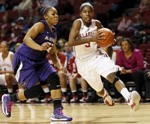 photo - Oklahoma's Aaryn Ellenberg (3) drives past Kansas State's Mariah White (22) during an NCAA women's college basketball game between the University of Oklahoma (OU) and Kansas State at Lloyd Noble Center in Norman, Okla., Wednesday, Feb. 20, 2013. Photo by Nate Billings, The Oklahoman