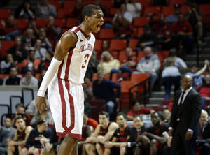 photo - Oklahoma's Buddy Hield (3) reacts during an NCAA college basketball game between the University of Oklahoma and Texas Tech University at Lloyd Noble Center in Norman, Okla., Wednesday, Jan. 16, 2013. Photo by Bryan Terry, The Oklahoman