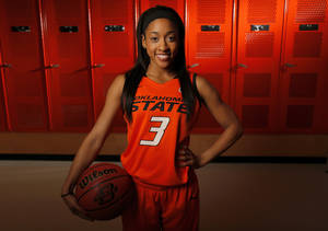 photo - WOMEN'S COLLEGE BASKETBALL: OSU's Tiffany Bias (3) poses for a photo during basketball media day for Oklahoma State University at Gallagher-Iba Arena in Stillwater, Okla., Monday, Oct. 22, 2012. Photo by Nate Billings, The Oklahoman