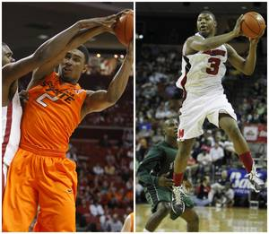 Photo - Left: Oklahoma State's Le'Bryan Nash (2) grabs a rebound beside Oklahoma's Andrew Fitzgerald (4) during the Bedlam men's college basketball game between the University of Oklahoma Sooners and the Oklahoma State Cowboys in Norman, Okla., Wednesday, Feb. 22, 2012. Photo by Bryan Terry, The Oklahoman. Right: 3/11/11 -  Lewisville Marcus guard Marcus Smart (3) grabs a pass over Fort Bend Hightower guard Bralon Addison (11) at the Frank Erwin Center for the UIL boys basketball 5A semifinals in Austin, Texas Friday March 11, 2011. (Erich Schlegel/Dallas Morning News Special Contributor)