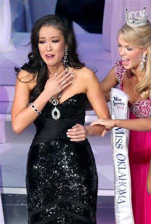 photo - Alicia Clifton, Miss Edmond LibertyFest, reacts as she is named Miss Oklahoma during the Miss Oklahoma 2012 Pageant at the Mabee Center on the Oral Roberts University campus in Tulsa on Saturday, June 9, 2012.  (AP Photo/John Clanton, Tulsa World)