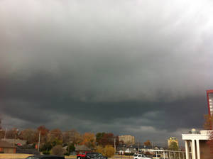 Photo - Skies darken in Oklahoma City as the anticipated cold front gets closer. Photo by Robert Medley
