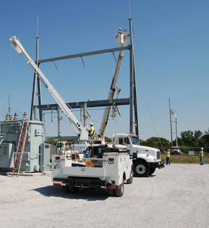 photo - A Western Farmers Electric Cooperative transmission crew completes work on the Bearcat Substation near Mooreland in northwest Oklahoma. Photo provided