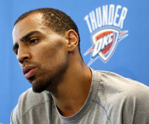 Photo - Thabo Sefolosha speaks during exit interviews with the media for the Oklahoma City Thunder at the team's practice facility in Oklahoma City, Sunday, June 1, 2014. The Photo by Nate Billings, The Oklahoman