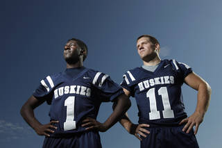 EDMOND NORTH HIGH SCHOOL FOOTBALL: Edmond North's Dynamic Duo of running backs Jarion Tudman, left, and Jared Benway Tuesday, August 16, 2011 . Photo by Doug Hoke, The Oklahoman. ORG XMIT: KOD