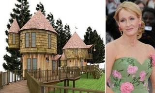 British novelist J.K. Rowling, renowned for the famous Harry Potter fantasy series, is being said to be spending a cool £250,000 on two interlinked treehouses in the garden of her luxurious Edinburgh mansion. The two 40ft high Hogwarts-style two-story treehouses are being made for multimillionaire?s two youngest children ? 9 years old David and his 7 years old sister Mackenzie. Rendering and J.K. Rowlings photo from www.homechunk.com.