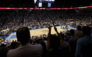 OVERVIEW: Fans cheer at the beginning of the NBA basketball game between the Miami Heat and the Oklahoma City Thunder at Chesapeake Energy Arena in Oklahoma City, Sunday, March 25, 2012. Photo by Nate Billings, The Oklahoman