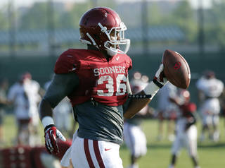 Fullback Dimitri Flowers (36) goes through drills during the University of Oklahoma Sooners (OU) football practice at the rugby fields in Norman, Okla., on Tuesday, Aug. 5, 2014. Photo by Steve Sisney, The Oklahoman