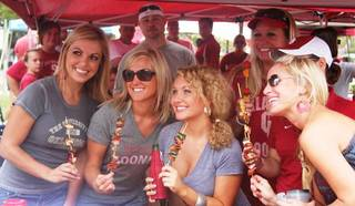 """The theme for the Seminoles game was """"stick it to 'em"""". Skewers were the most appropriate food item."""